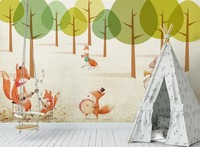 [Self Adhesive] 3D Forest Fox Rabbit Band 11 Wall Paper mural Wall Print Decal Wall Murals