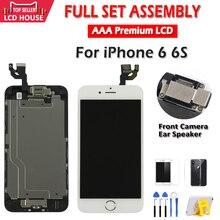 """أسود أبيض 4.7 """"شاشة ل iPhone 6 6S LCD مجموعة كاملة الجمعية كاملة 100% مع ثلاثية الأبعاد قوة اللمس قطع غيار محول رقمي عرض"""