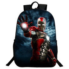 Wholesale Hot Polyester 16 Inch Prints Cartoon Iron Man Boys School Bags for Teenagers Kids Baby Backpack for Children Gifts(China (Mainland))