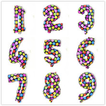 Free Shipping Holiday Festival Multicolor Wave Point Digital Balloons Birthday New Year decoration Numbers Helium Foil Balloons