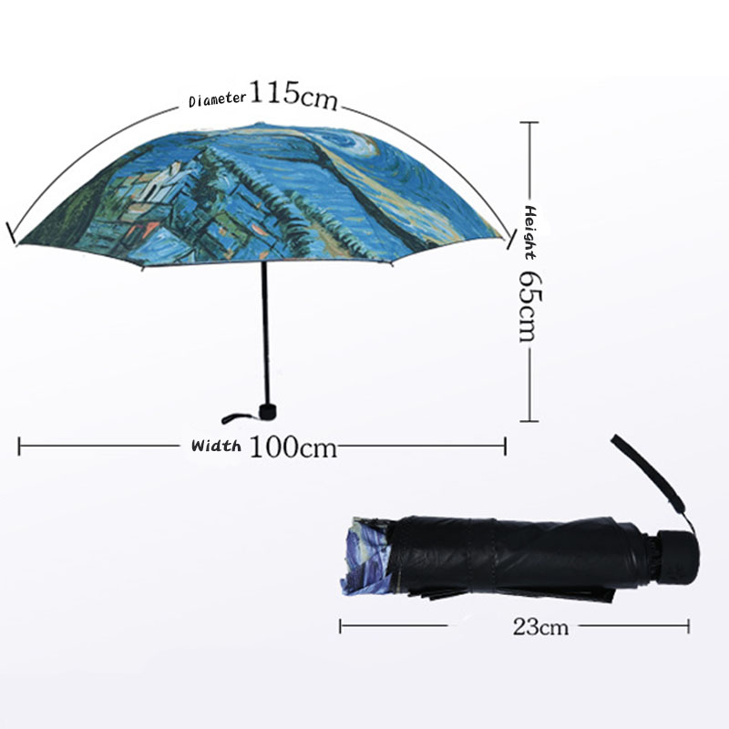 Yuding Non automatic Women Creative Folding Sunny Rainy Umbrella Van Gogh Starry Night Oil Painting Paraguas Gift Decoration in Umbrellas from Home Garden