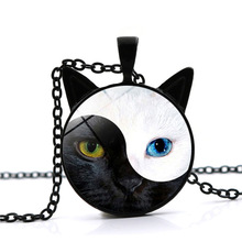 Tai Chi Yin Yang Cat Crystal Necklace Black Cat Ear Glass Pendant Sweater Chain Jewelry Wholesale недорого