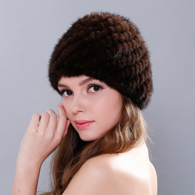 Real knitted mink fur hat  2016 New winter mink fur beanies Cap for women free size casual natural fur women's hat