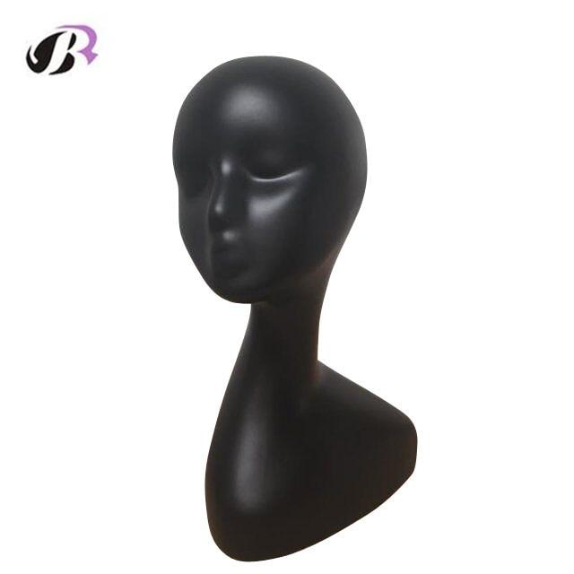 Hitam manikin kepala manikin kepala manikin untuk rambut palsu dan - Penjagaan rambut dan penggayaan - Foto 2