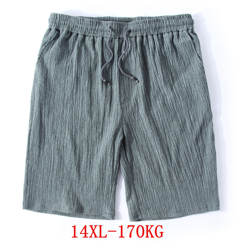 Men's Big Shorts Plus Size 11XL 12XL 13XL 14XL Summer Linen Large Stretch Sports Casual Loose 60 Black Shorts