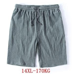 Image 1 - Mens Big Shorts Plus Size 11XL 12XL 13XL 14XL Summer Linen Large Stretch Sports Casual Loose 60 Black Shorts