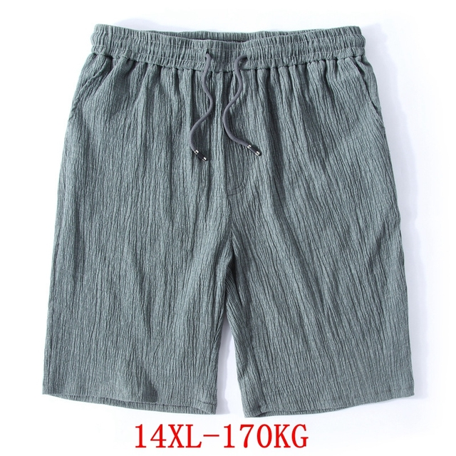 Mens Big Shorts Plus Size 11XL 12XL 13XL 14XL Summer Linen Large Stretch Sports Casual Loose 60 Black Shorts