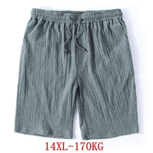 ชายใหญ่กางเกงขาสั้น PLUS ขนาด 11XL 12XL 13XL 14XL ฤดูร้อนผ้าลินินยืดกีฬาหลวมๆ 60 กางเกงขาสั้นสีดำ