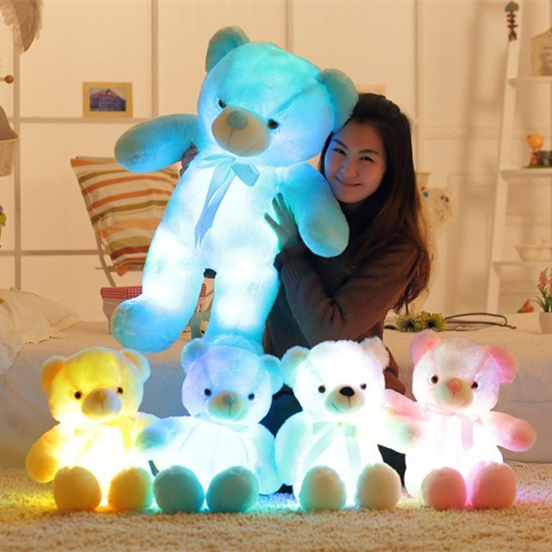 Flashing Plush Toy Stuffed Led Light Teddy Bear Kid Toy Cute Luminous Colorful Baby Doll Best Gift For Children And Friends 75CM large cute plush led panda teddy bear doll new year s gift colorful rainbow flash light children girl toy