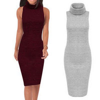 Fashion Black Turtleneck Dress Vintage Sexy Bodycon Dress Women Plus Size Summer Slim Knee Length Dress