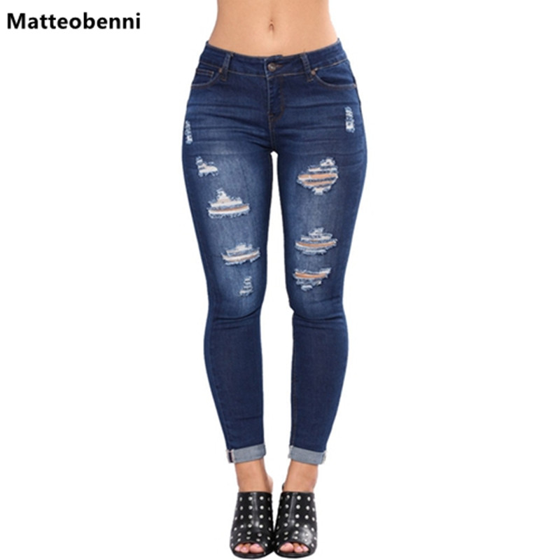 Bleach Wash Shredded Ripped Pencil Skinny Jeans Women Blue Mid Waist Skinny Long Pants 2018 Rock Button Fly Stretchy Denim Jeans