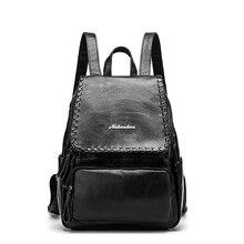 DLKLUO 2017 Женщины Натуральная кожа рюкзак минималистский сплошной черный школьные сумки для подростков девочек женские рюкзак