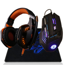 Ratón Profesional 3200 DPI 7 botón 7D LED USB con cable + Auriculares con micrófono estéreo especial gamers
