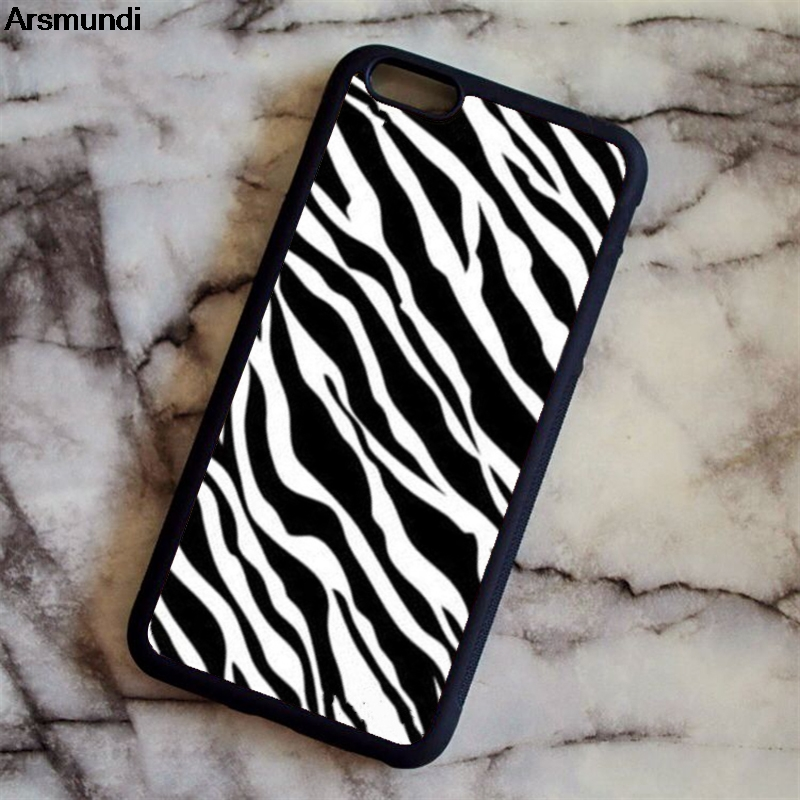 Arsmundi Zebra Pattern Stampa Animale Phone Cases for iPhone 4S 5C 5S 6 6S 7 8 Plus X for Samsung Case Soft TPU Rubber Silicone