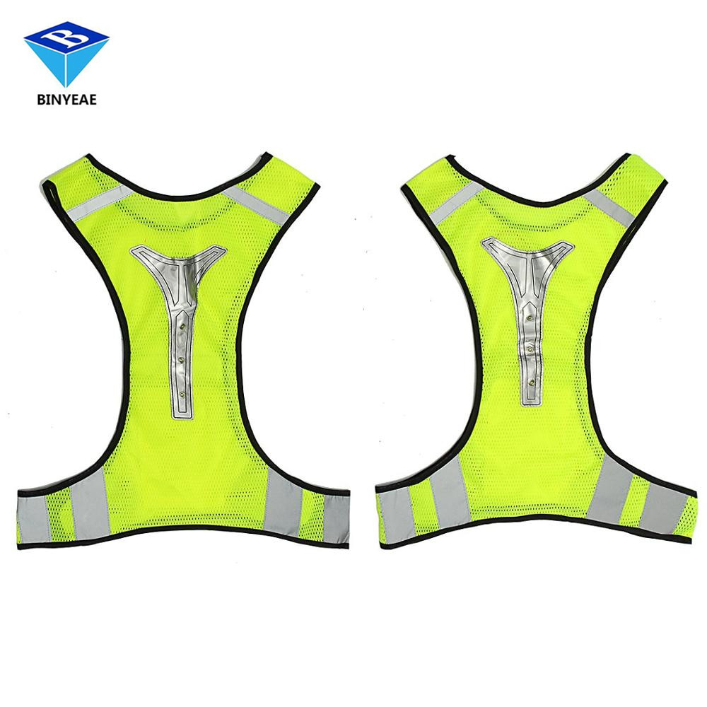 Led Reflective Safety Vest For Night Running Cycling Breathable High Visibility Genuine BINYEAE