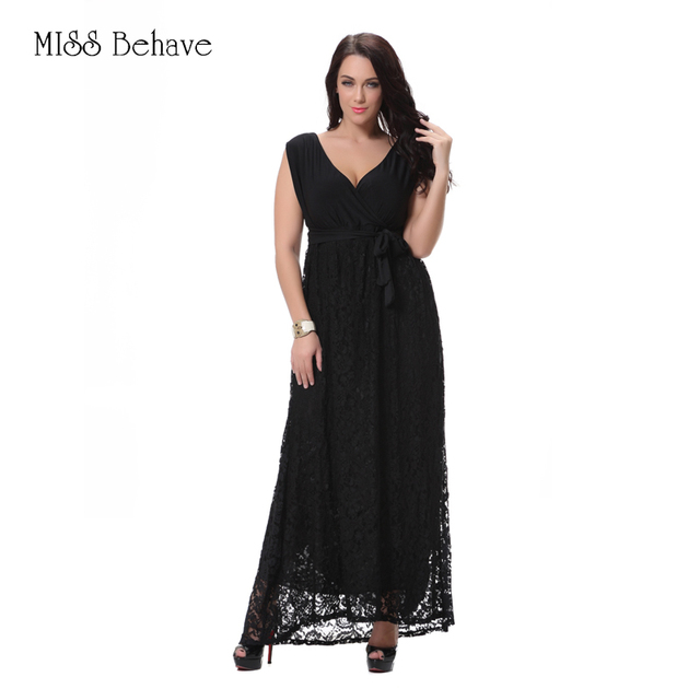 Summer Lace Long Dress Women Plus Size 8xl 2018 New Fashion Deep V