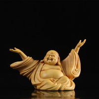 6cm Laughing Buddha Maitreya Buddha statues holy statue happy joy wood carving home Zen small wall ornaments carving craft gift
