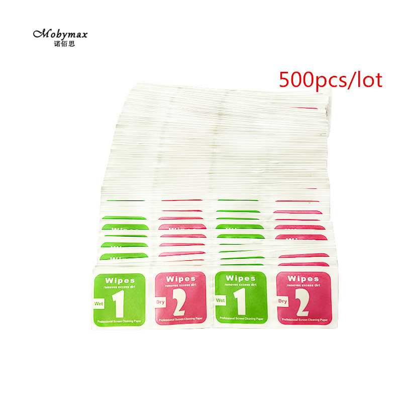 500pcs For iPhone 8 LCD Screen Dust Removal Dry Wet Cleaning Wipes Paper tools alcohol package for iPhone 5 6 7plus