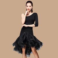Latin Dance Dress Adult Female New Dress Three Steps Step On The Performance Dress Oblique Shoulder