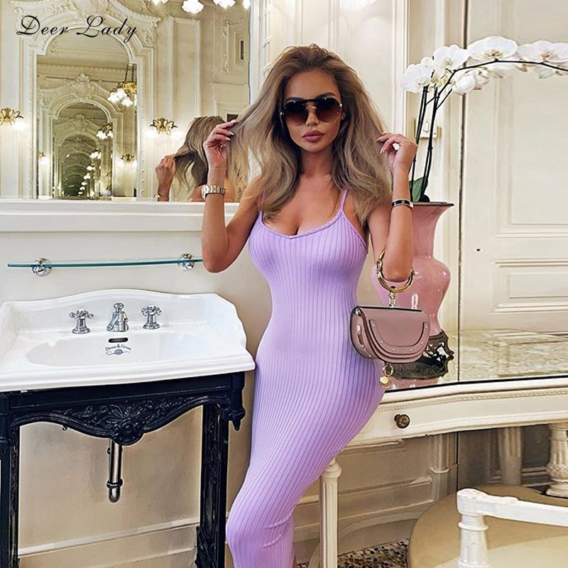 Deer Lady Bandage Party Dresses 2019 Summer Midi V Neck Bodycon Dress Bandage Women Purple Spaghetti