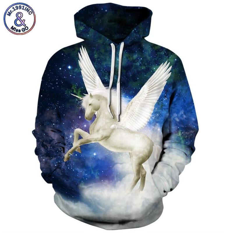 Mr.1991INC 2018 new Hot starry sky Pegasus 3d Sweatshirts Men/women hoodie sweatshirt Casual Hooded Pullovers Men Hoodies M278
