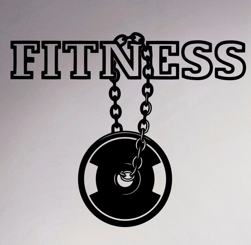 Fitness center logo wall vinyl decal gym emblem sticker