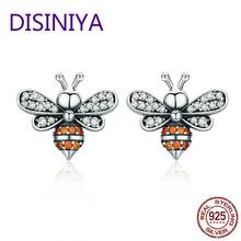 Hot Design Real 925 Sterling Silver Cute Bees Stud Earrings for Women S925 Brand Jewelry Gift CQE344