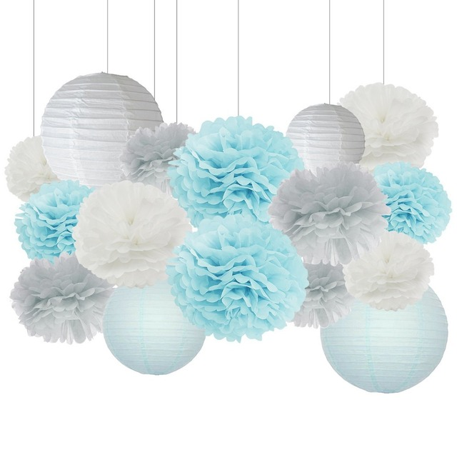 16pcs Boy Baby Shower Decorations Baby Blue Grey White Mixed Tissue