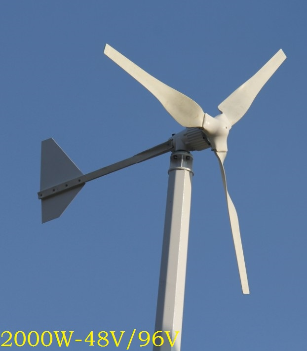 WWS ENERGY Wind Power Generator 2000W 48V or 96V 3 Blades fit for Home Ship Boat Yacht use