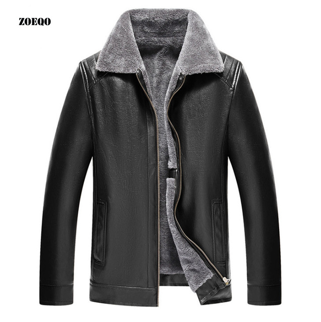 Winter men Leather Jacket Mens Coats Fur inside Male Motorcycle Jacket and coat PU Leather Outwear Jackets Plus Size 5XL