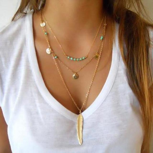 New Layered Necklace Bohemia Gold Silver Tassel Blue Beads Feather