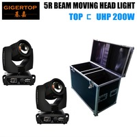 2in1 FlightCase Pack Beam 200W 5R Moving Head High Lumen Power 16 Facet Rotating Prism Frost Filter DMX 3 PIN XLR Input Output