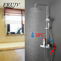 FRUD Shower Faucet Bathroom Waterfall Thermostatic Faucets Chrome Wall Mounted Sink Mixer Taps Hot and Cold Shower Faucet