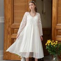 2019 Sleepwear Women Robe Gown Set Nightdowns Lace Bathrobe Kimono Sexy Sleep Dress Vintage Princess Nightwear Robe Bride