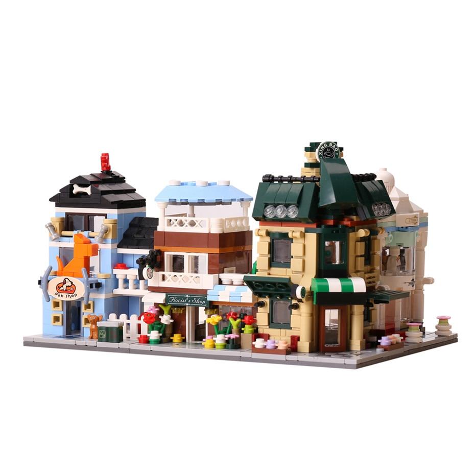XingBao 01105 1079 pièces Café Boutique De Mariage Fleur Boutique Animalerie Set 4 en 1 Blocs De Construction Briques LegoINGlys Ville