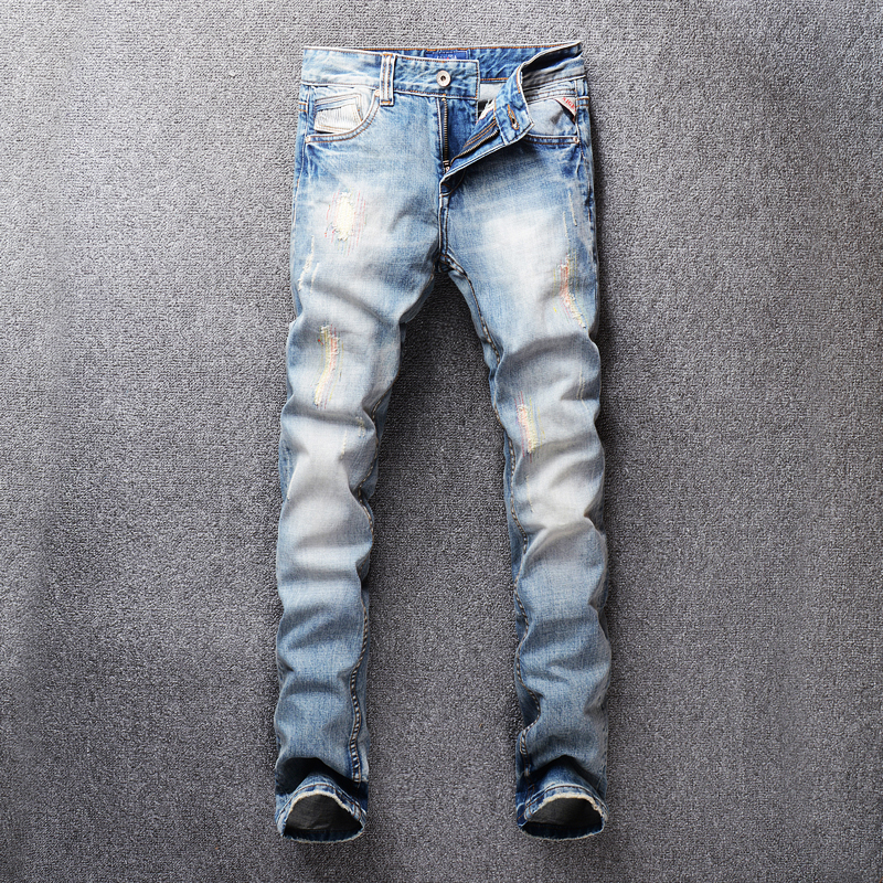 Italian Style Fashion Men Jeans Light Blue Slim Fit Ripped Jeans Men Patch Embroidery Denim Pants Streetwear Hip Hop Jeans Homme