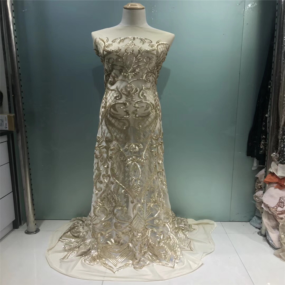 luxury french net lace gold sequins fabric high quality tulle lace glitter fabric for wedding dresses