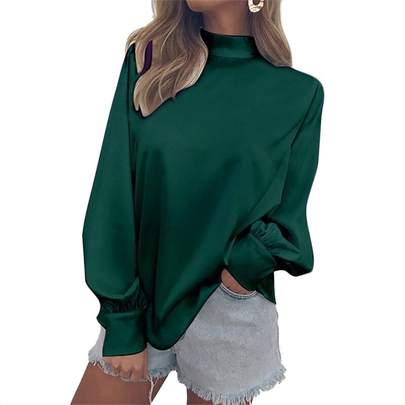 Femmes pourpre Hauts Vêtements De Élégant bourgogne Roulé Longues blanc Dames Chemises Mince vert Travail Lâche Femelle Noir bleu Manches Col Bas Tops Tee SqrSw4
