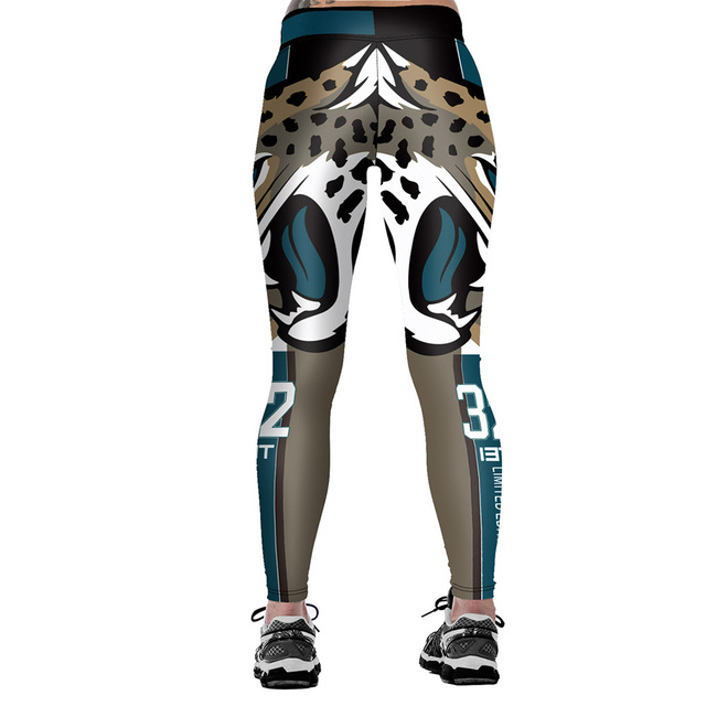 Unisex Jacksonville Jaguars Logo Fitness Leggings Elastic Fiber Hiphop Party Cheerleader Rooter Workout Pants Trousers Dropship