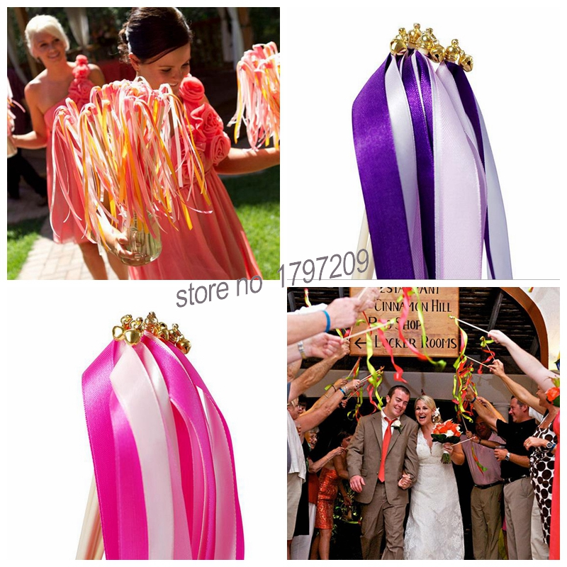 60pc Twirling Wedding Ribbon Wands Party Decoration Bell Streamers
