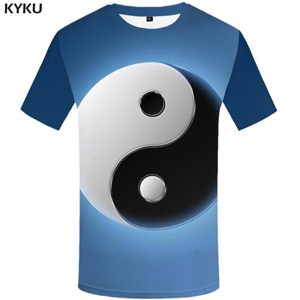 3e1f60b0a607 KYKU Brand Galaxy Tshirt Men Yin Yang T Shirt Blue Hip Hop Tee Cool Moon 3d  Print T-shirt Funny Anime Mens Clothing Streetwear