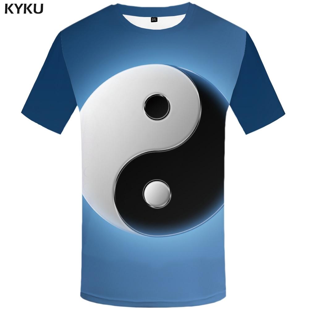 Gutherzig Kyku Marke Galaxy T-shirt Männer Yin Yang T Hemd Blau Hip Hop T Kühle Mond 3d Druck T-shirt Lustige Anime Herren Kleidung Streetwear Buy One Give One T-shirts