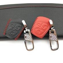 2018 عالية الجودة جلد الرجال حقيبة مفاتيح السيارة سيارة حقيبة غطاء للمفاتيح لمرسيدس بنز C و S ML CLK SLK CLS 3 أزرار حماية قذيفة