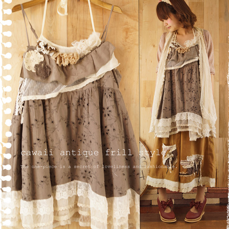 Japaness Summer Mori Girl Sweet Dress Women Clothing Appliques Cotton Lace Flowers Sleeveless Patchwork Strap Lovely