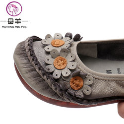 MUYANG MIE MIE Women Flats 2019 Handmade Casual Women Shoes Woman Flower Genuine Leather Flat Shoes Ballet Flats Women Loafers 6