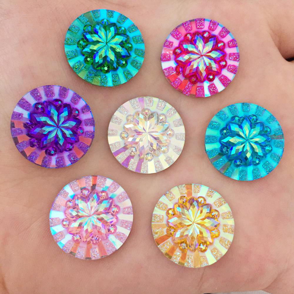 Wedding Flowers In Resin: New 10pcs 20mm AB Resin Round Flatback 3D Flower