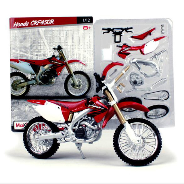 Maisto 1:12 Scale Motorcycle Toy, Diecast & Alloy DIY Assembled Model, HONDA CRF 450R Motor Building Kits, Kids Toys, Juguetes