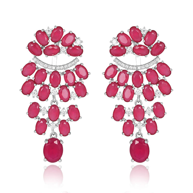 2016 Fashion Jewelry Red Color Malay Jade and Clear CZ Crystal Chandelier Earrings Jackets Set