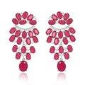2016 Moda Jóias Cor Vermelha Malay Jade e Cristal CZ Claro Lustre Brincos Jaquetas Definidos