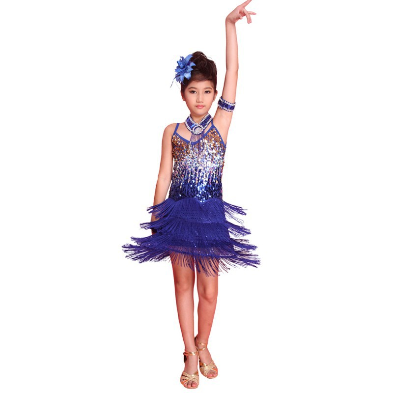 Kids Girls Sequined Latin Ballroom Dance Dress Dancewear Fringe Skirts Latin Stage Dance Costume